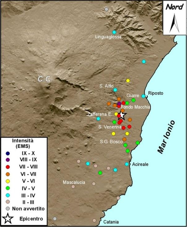 Figura 3. Distribuzione degli effetti macrosismici del terremoto del 15 ottobre 1911 (fonte: CMTE).