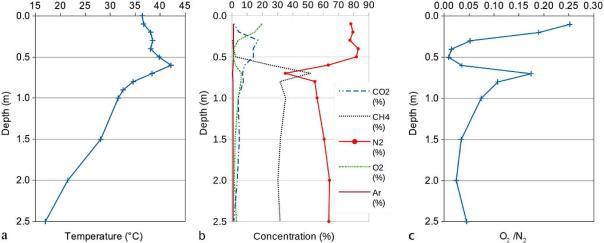Figura 3: profilo delle temperature misurate alle terre calde di Medolla da 0 a 2,5 metri di profondità (da Nespoli et al. 2015).