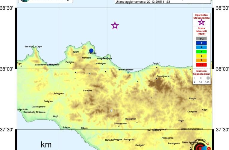 Evento sismico al largo della costa siciliana centro settentrionale (Palermo), Ml 4.0, 20 dicembre ore 10:46