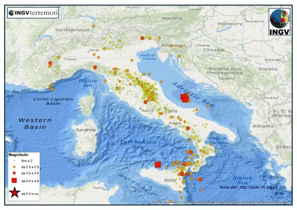 I terremoti registrati dalla Rete Sismica Nazionale nel mese di dicembre 2015.