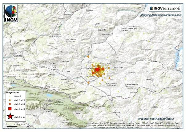 La sequenza sismica in provincia di Campobasso durante il mese di gennaio 2016.