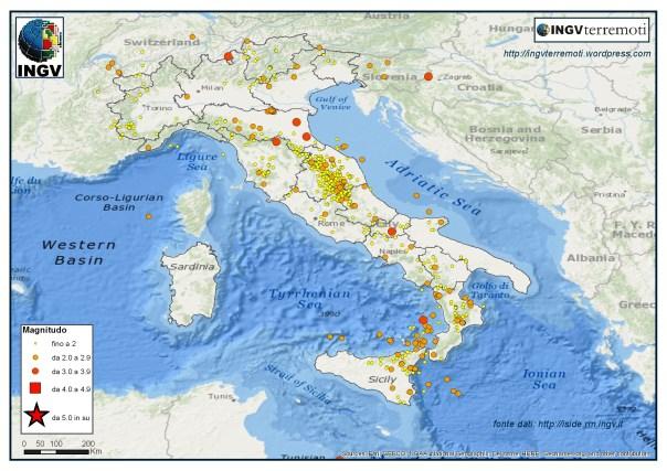 I terremoti registrati dalla Rete Sismica Nazionale dal 1 al 30 aprile 2016.