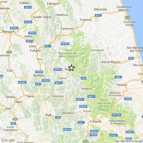 L'epicentro del terremoto di questo pomeriggio Ml 4.4 in provincia di Ascoli Piceno.