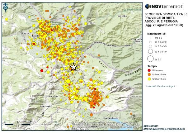 La sismicità dal 24 agosto a questa sera (26 agosto) alle ore 19:00. La stella mostra l'epicentro dell'evento delle 3:36 del 24 agosto.