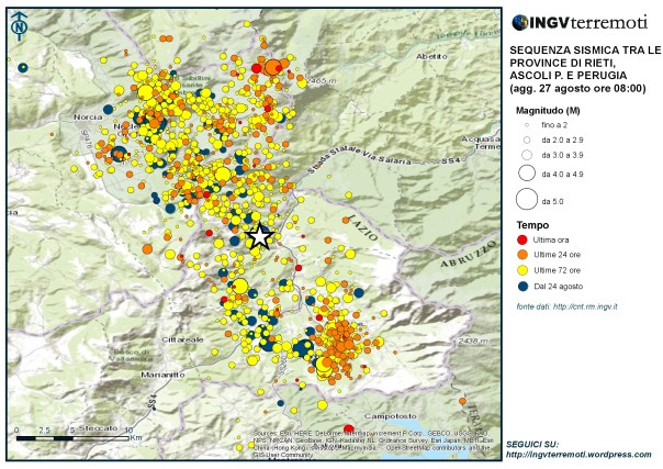 La sismicità localizzata dalla Rete Sismica Nazionale dal 24 agosto. La stella mostra l'epicentro dell'evento di magnitudo 6.0 delle ore 3:36.
