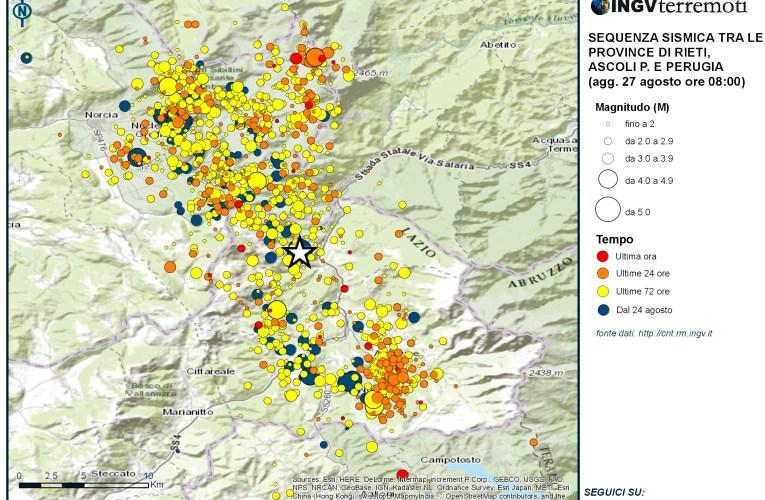 Sequenza sismica tra le province di Rieti, Perugia, Ascoli Piceno, L'Aquila e Teramo: aggiornamento delle ore 08.00 – 27 agosto