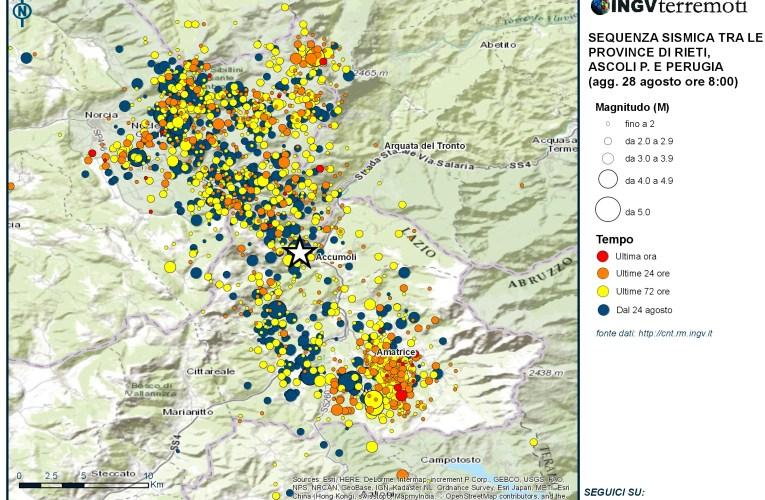 Sequenza sismica tra le province di Rieti, Perugia, Ascoli Piceno, L'Aquila e Teramo: aggiornamento delle ore 08.00 – 28 agosto