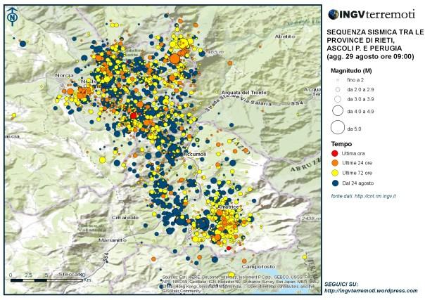 La mappa della sequenza sismica aggiornata al 29 agosto alle ore 9:00.
