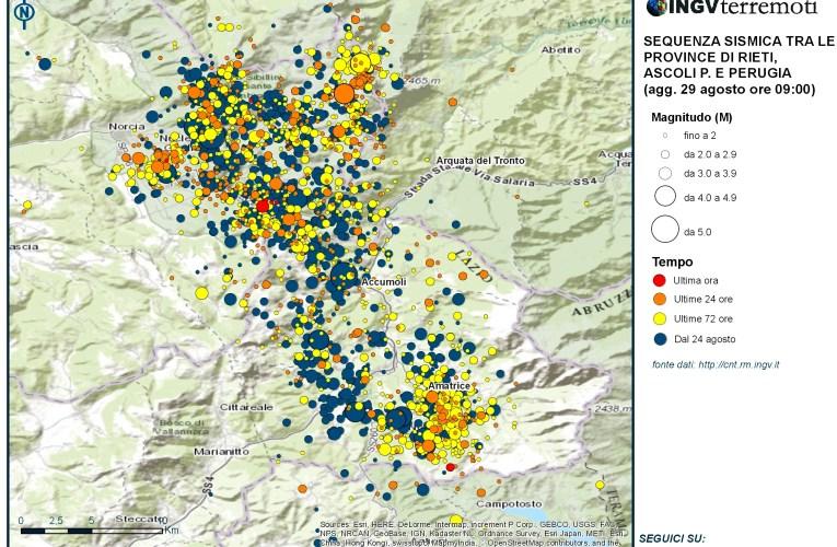 Sequenza sismica tra le province di Rieti, Perugia, Ascoli Piceno, L'Aquila e Teramo: aggiornamento delle ore 09.00 – 29 agosto