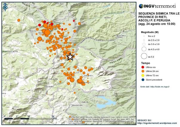 Eventi sismici localizzati dalle ore 03:36 alle ore 15.00 italiane tra le province di Rieti, Perugia, Ascoli Piceno, L'Aquila e Teramo.