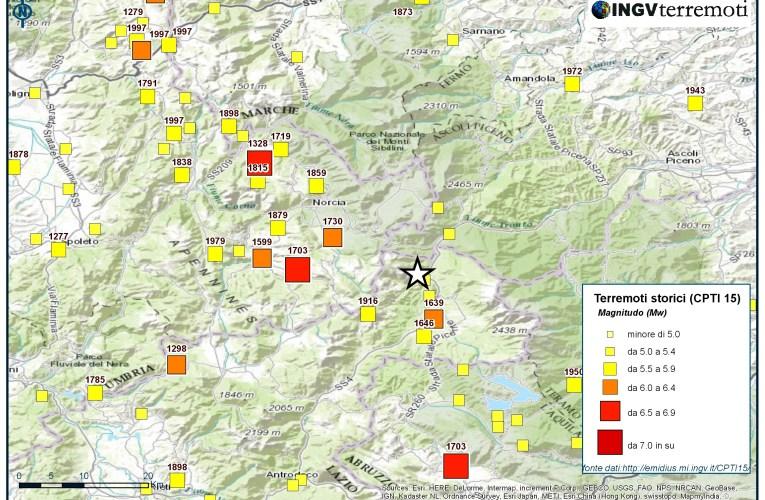 Sequenza sismica in Italia centrale: la sismicità storica dell'area