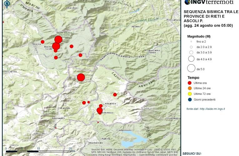 Terremoti nelle province di Rieti, Ascoli Piceno e Perugia: aggiornamento ore 5.00
