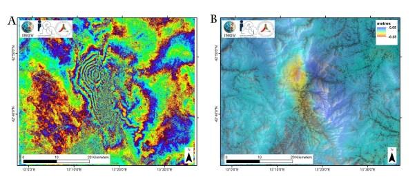 Figura 1: esempio di interferogramma (A) ottenuto dall'elaborazione di due immagini SAR del satellite Sentinel-1. Nel pannello B si riporta la corrispondente mappa delle spostamento del suolo dovuto al terremoto del 24 agosto 2016. Le immagini utilizzate sono relative alle date 21 e 27 agosto 2016.
