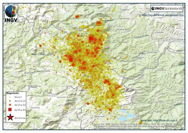 La sequenza sismica in Italia centrale durante il mese di settembre 2016.
