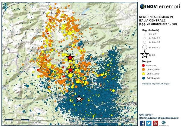 Sequenza sismica in Italia centrale: aggiornamento del 28 ottobre 2016, ore 10:00