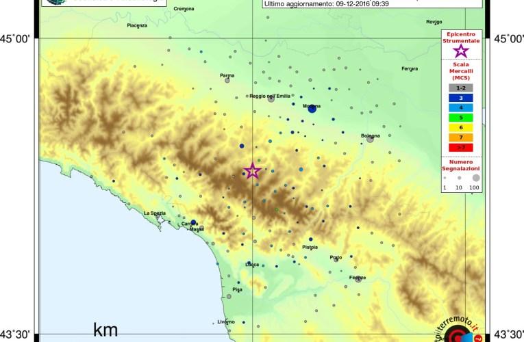 Evento sismico tra le province di Reggio Emilia e Modena, M 4.0, 9 dicembre