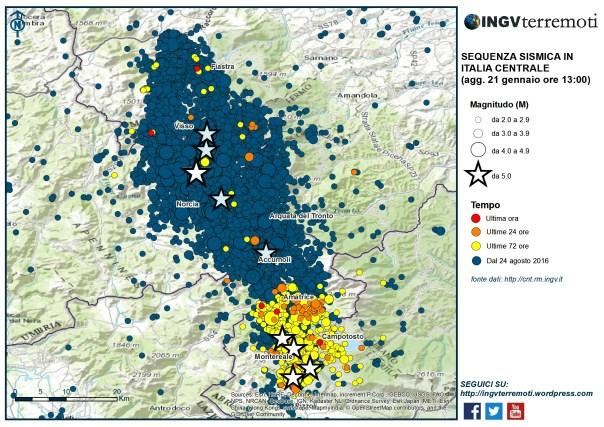 La mappa della sequenza sismica in Italia Centrale dal 24 agosto 2016 al 20 gennaio 2017. Negli ultimi giorni l'attività sismica è concentrata soprattutto nel'area a sud tra le province dell'Aquila e Rieti.