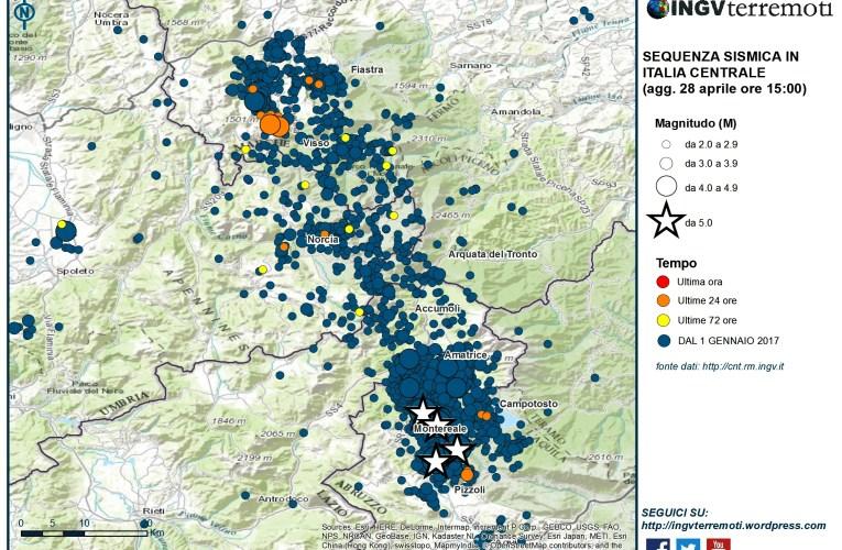 Sequenza in Italia centrale: aggiornamento del 28 aprile