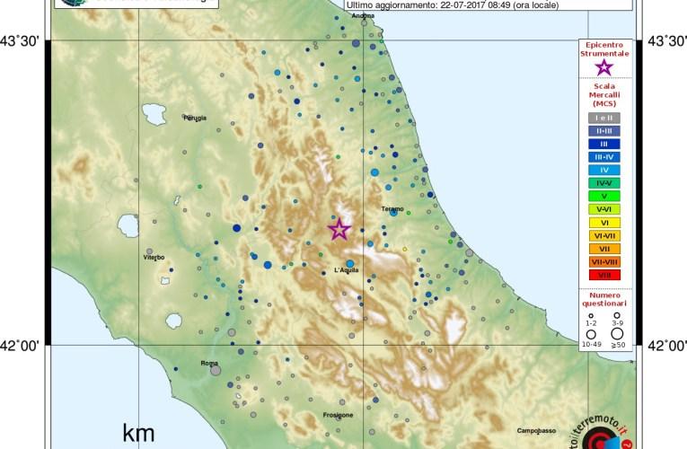 Evento sismico tra le province di L'Aquila e Rieti, Ml 4.2, 22 luglio 2017