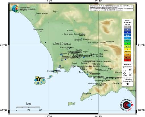 Evento sismico nei pressi dell'Isola di Ischia (NA), 21 agosto ore 20:57