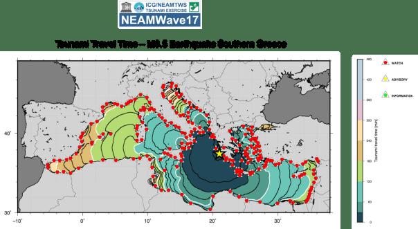 Simulazione della propagazione della prima onda di tsunami durante l'esercitazione NEAMWave17