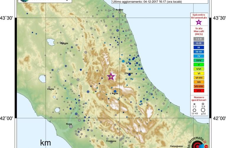 Evento sismico tra le province di Rieti e L'Aquila, Ml 4.2 (Mw 4.0), 4 dicembre 2017