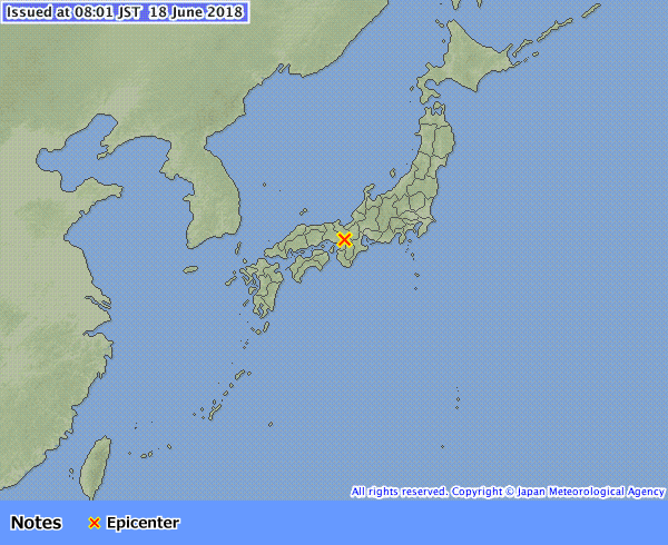 Terremoto M 5.8 a Osaka (Giappone),18 giugno 2018