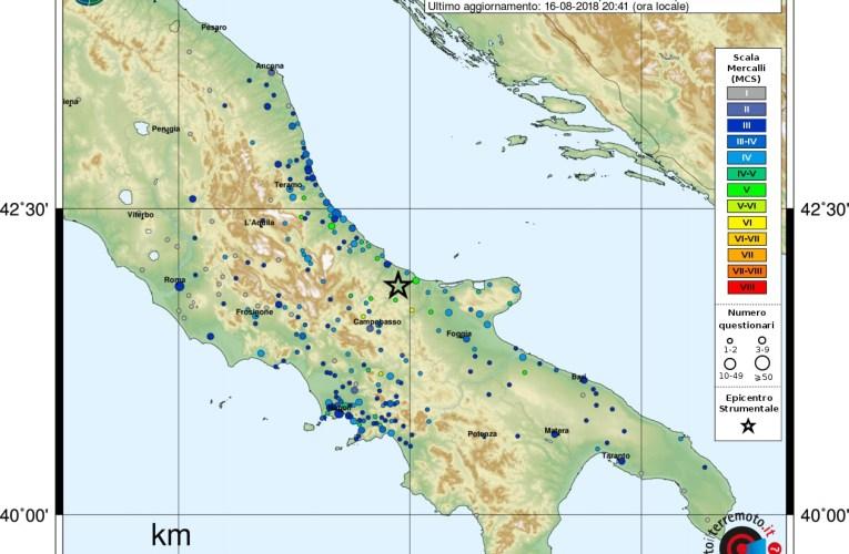 Evento sismico Ml 5.2 (Mw 5.1) in provincia di Campobasso 16 agosto 2018