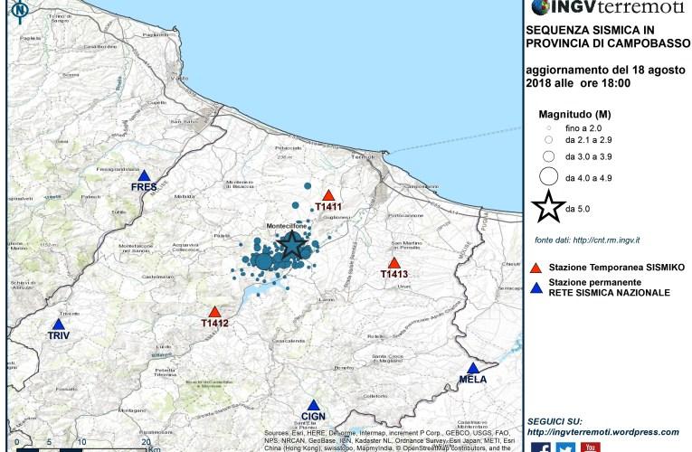 Aggiornamento sequenza sismica in provincia di Campobasso, 18 agosto 2018 ore 18:00