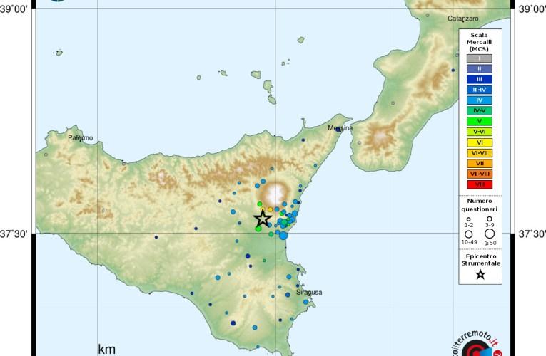 Evento sismico di Ml 4.8 in provincia di Catania del 6 ottobre 2018
