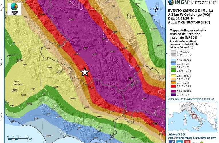 Evento sismico Ml 4.2 (Mw 4.1) in provincia dell'Aquila, 1 gennaio 2019