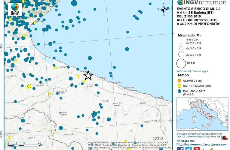 Evento sismico Ml 3.9 in provincia di Barletta Andria Trani del 21 maggio 2019