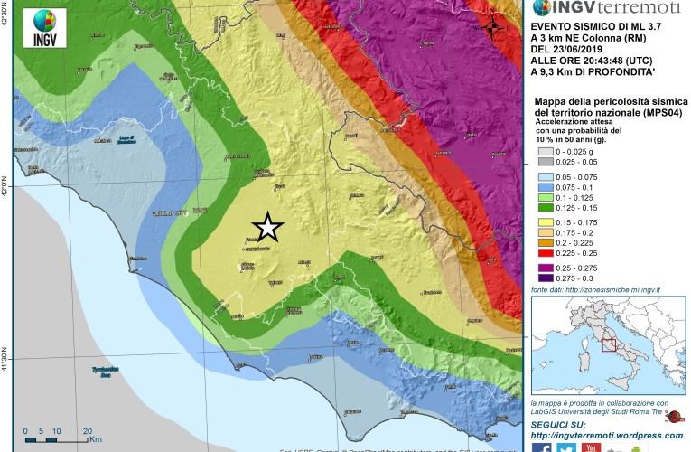 Evento sismico del 23 giugno 2019 di magnitudo Mw 3.6 (ML 3.7) in provincia di Roma