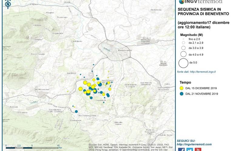 Aggiornamento sulla sequenza sismica in provincia di Benevento del 17 dicembre 2019