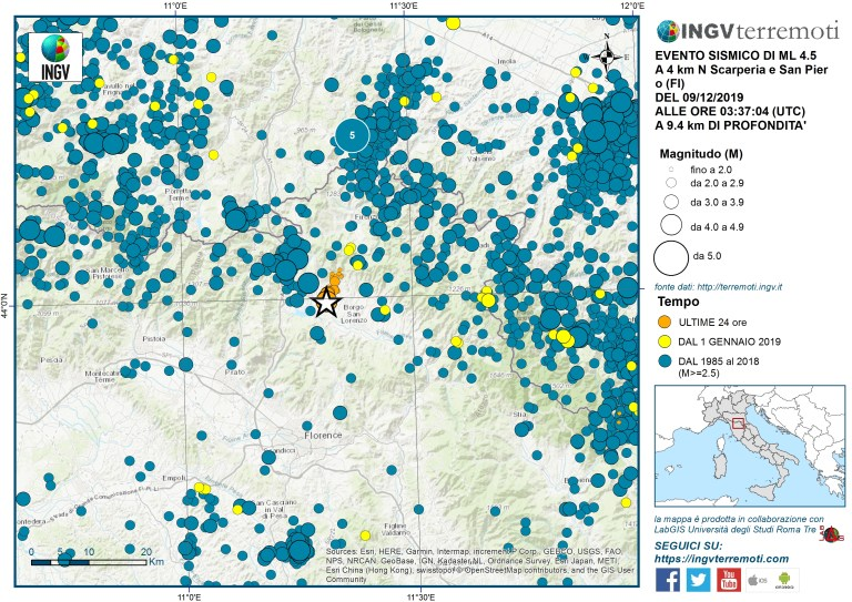 La sismicità nell'area dal 1985 ad oggi.