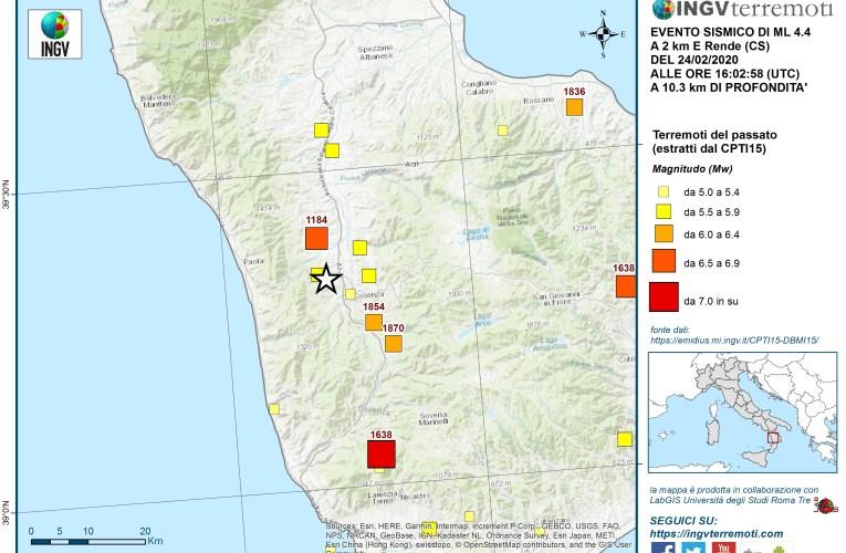 Evento sismico del 24 febbraio 2020, Ml 4.4 (Mw 4.3), in provincia di Cosenza