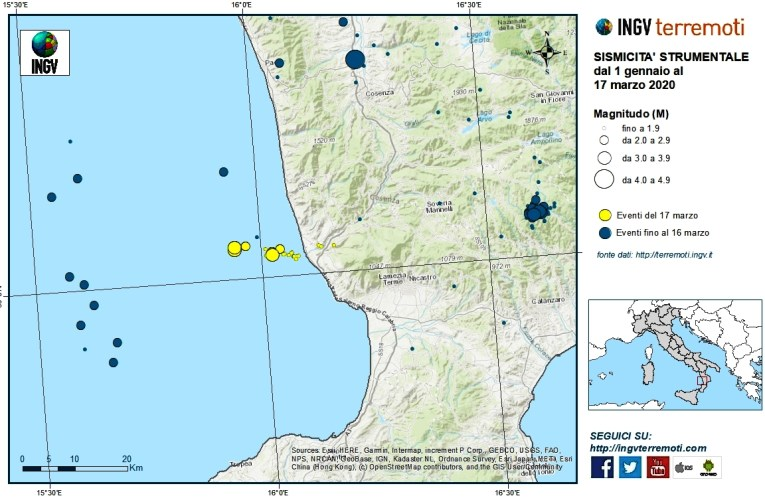 Eventi sismici in Calabria, 17 marzo 2020