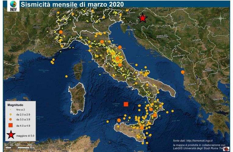 Le mappe mensili della sismicità, marzo 2020
