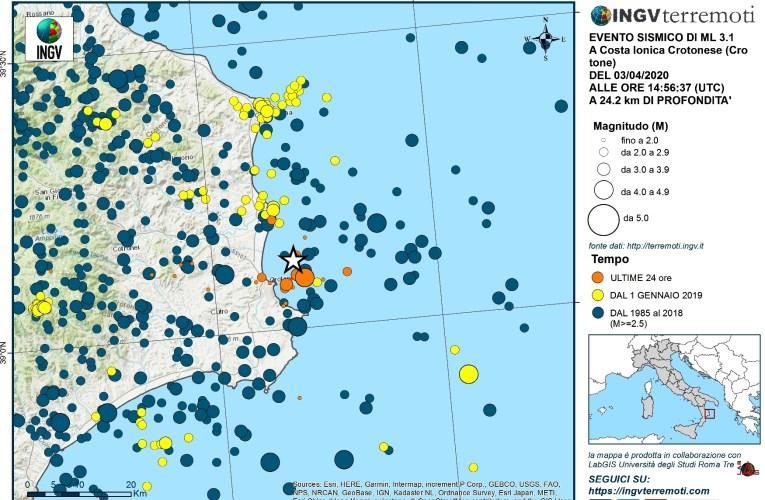 Eventi sismici al largo della costa ionica crotonese, 3 aprile 2020