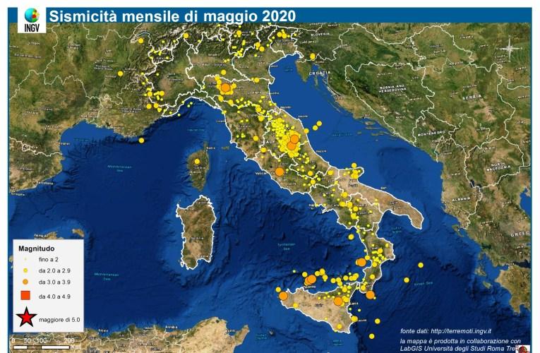 Le mappe mensili della sismicità, maggio 2020
