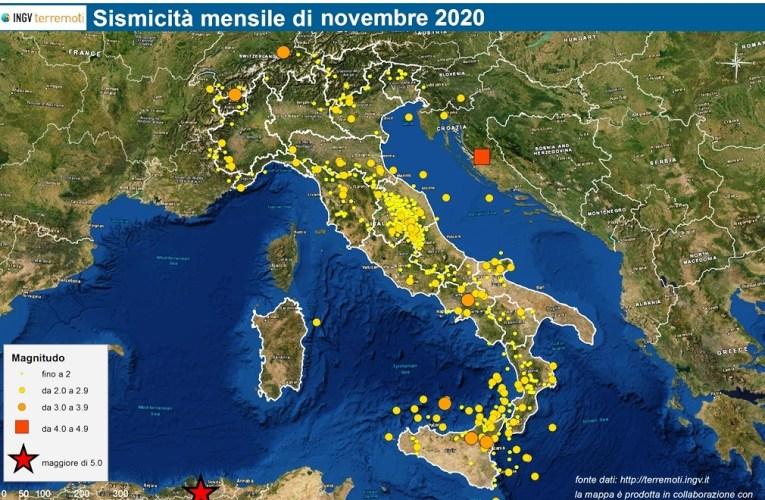 Le mappe mensili della sismicità, novembre 2020