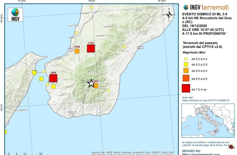 Evento sismico del 19 dicembre 2020, Ml 3.9, in provincia di Reggio Calabria