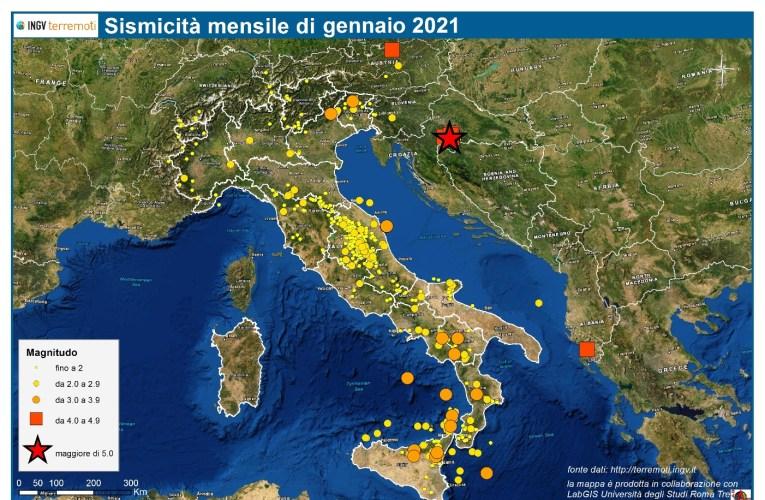 Le mappe mensili della sismicità, gennaio 2021