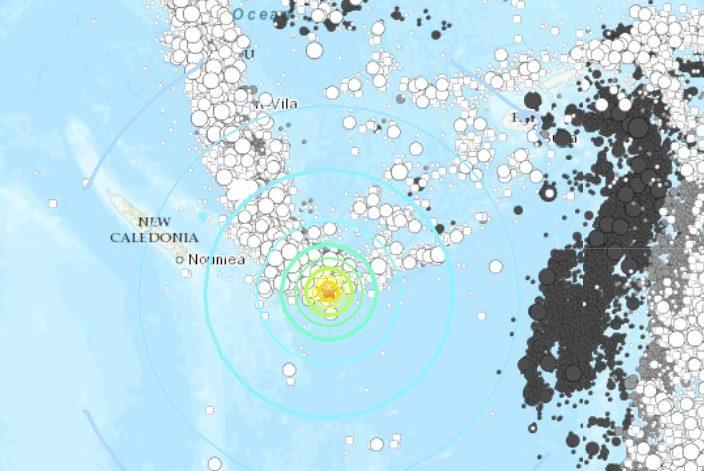 Terremoto di magnitudo Mwpd 7.5 vicino alla Nuova Caledonia