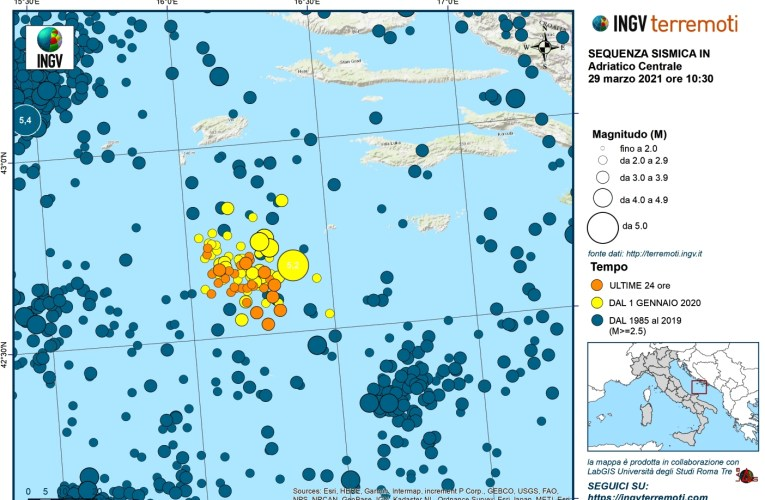 Aggiornamento sequenza sismica del 27 Marzo 2021 in Mar Adriatico [ore 10.30 – 29 marzo 2021]