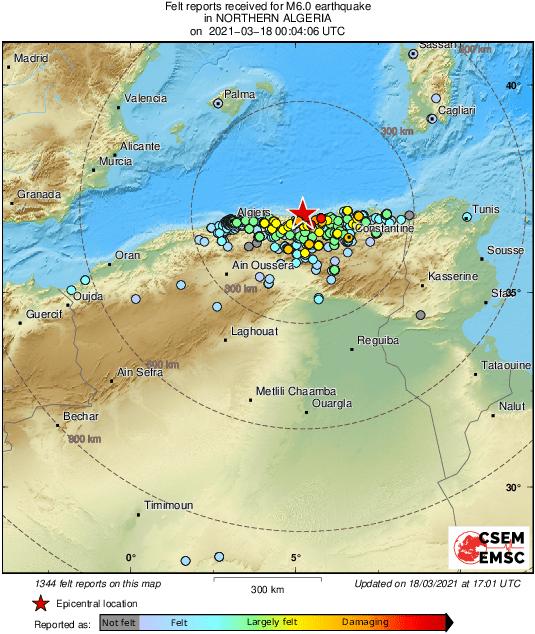 Localizzazione del terremoto del 18 marzo 2021 lungo la costa algerina e risentimento sismico.
