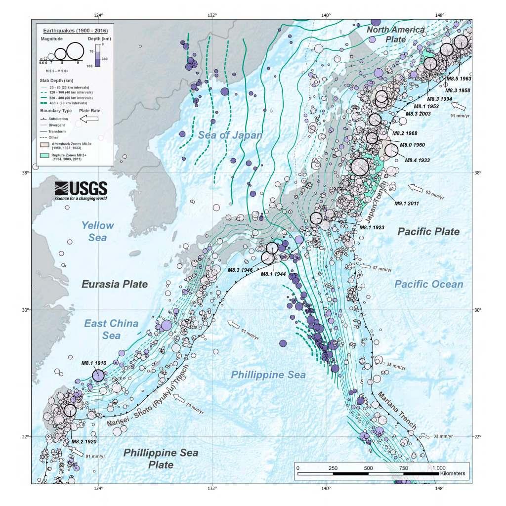 Assetto sismo-tettonico del Giappone (da USGS).