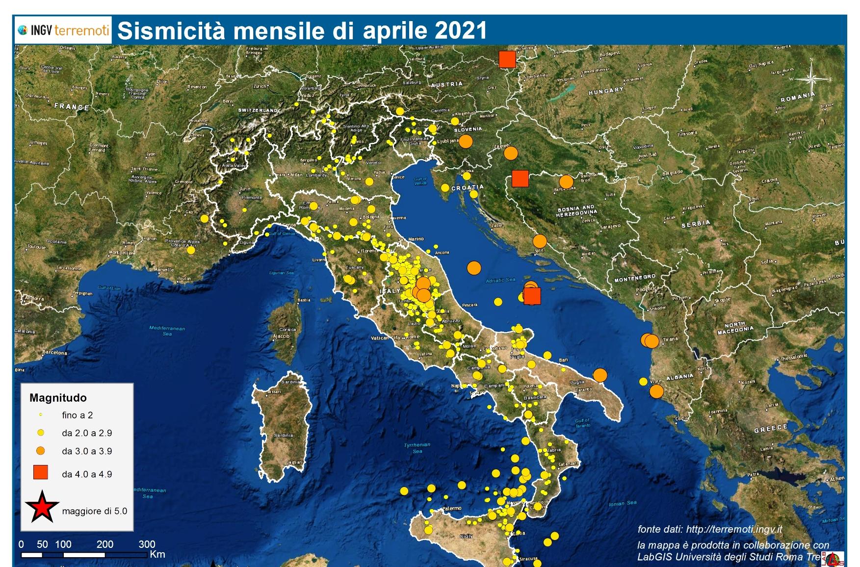 Le mappe mensili della sismicità, aprile 2021