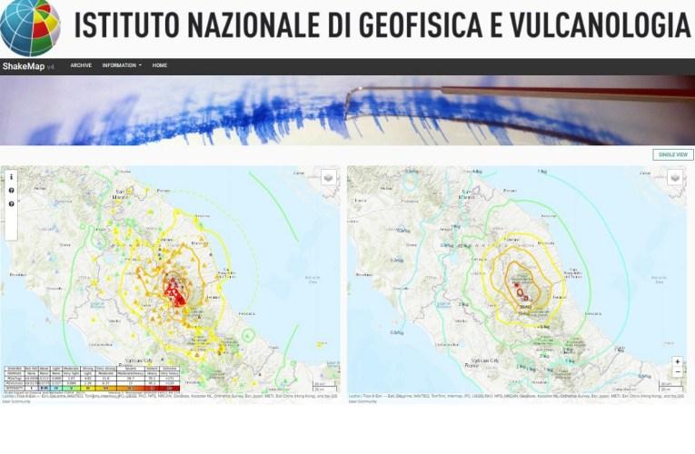 Il nuovo sito delle mappe dello scuotimento sismico – ShakeMaps