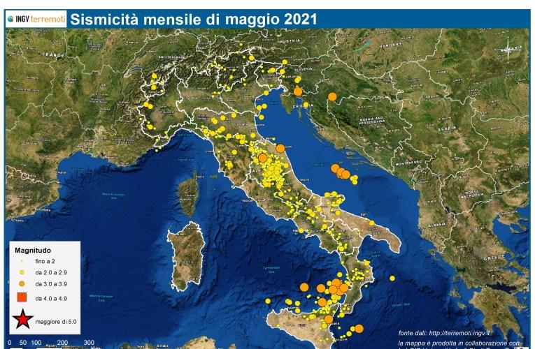 Le mappe mensili della sismicità, maggio 2021